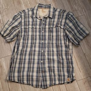 Carhartt Force Relaxed Fit Plaid Button SS Shirt L